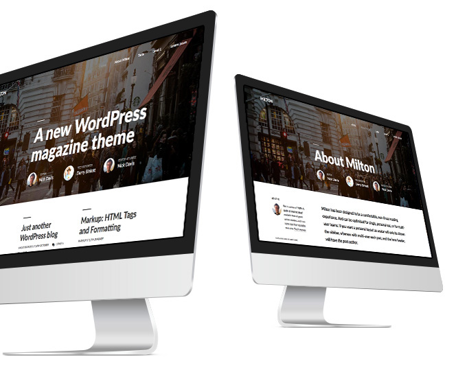 Two iMacs show the Milton theme for WordPress